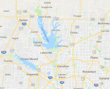 Map of Denton TX. We service all areas in this map, including Denton, Aubrey, Argyle, Corinth, Little Elm, Crossroads, and Krum.